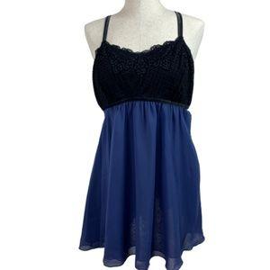 Soma Black Lace W/Blue Chemise Nighty L